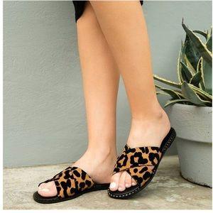 Shoes - Vegan Suede Leopard Print Sandals, Flats